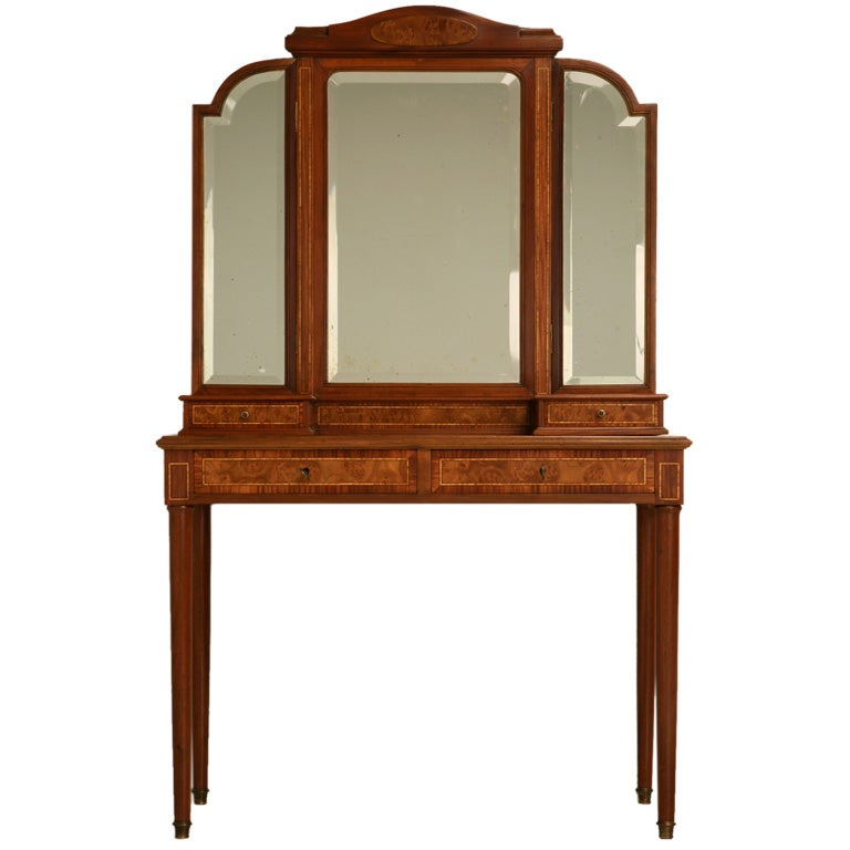 French burled walnut and mahogany dressing table at for Walnut dressing table