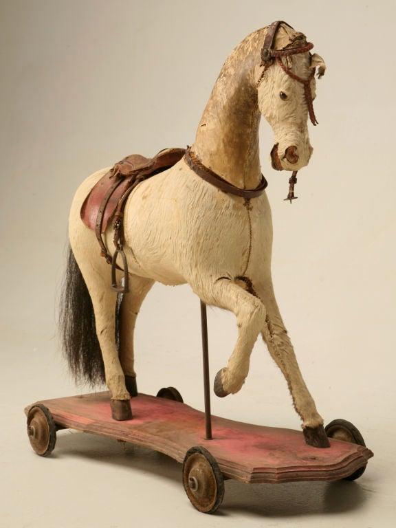 c.1900 Antique English Horse Pull Toy 2