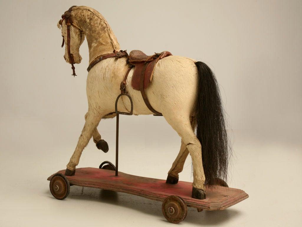 c.1900 Antique English Horse Pull Toy 6