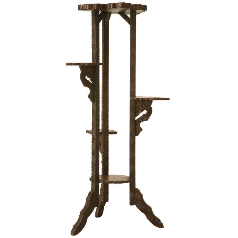 C 1920 Pyrography Flemish Folk Art Pedestal Or Plant Stand