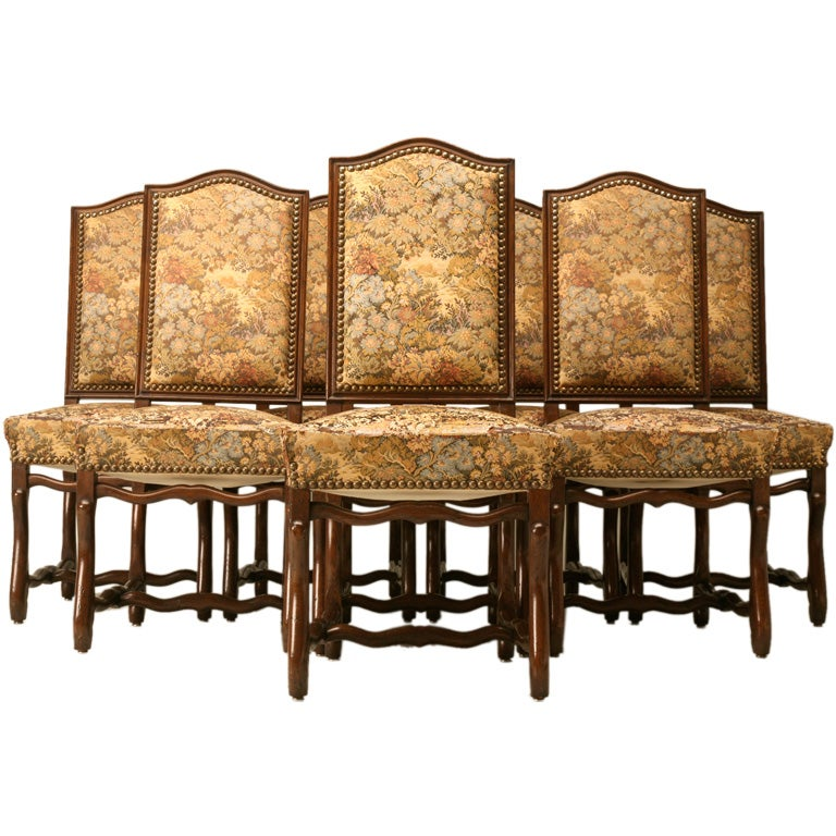 c 1930 Set of 8 French Louis XIII Style Dining Chairs at