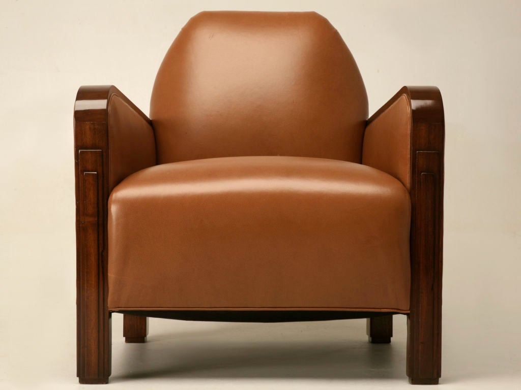 French s club chair with exotic wood arms and legs at