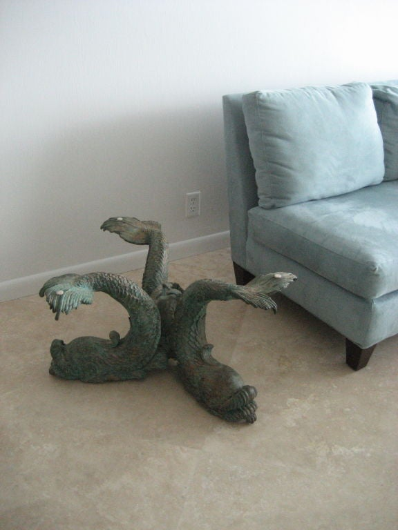 bronze italian dolphin coffee table at 1stdibs. Black Bedroom Furniture Sets. Home Design Ideas