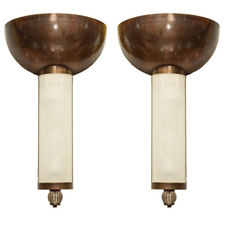 Metal Shaped Wall Lights : A Pair of American Art Deco Metal demi-lune shaped Uplights at 1stdibs