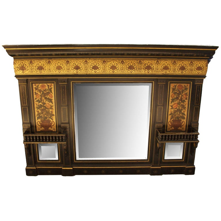 An english aesthetic movement over mantle mirror at 1stdibs for Mirror for above fireplace mantel