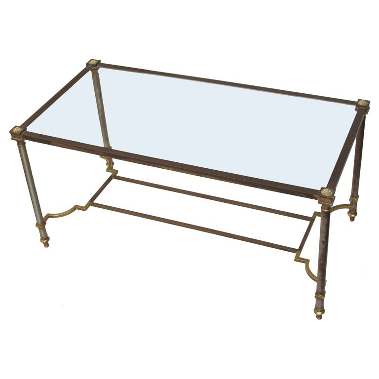 Coffee table with bronze and steel frame at 1stdibs for Metal frame glass coffee table