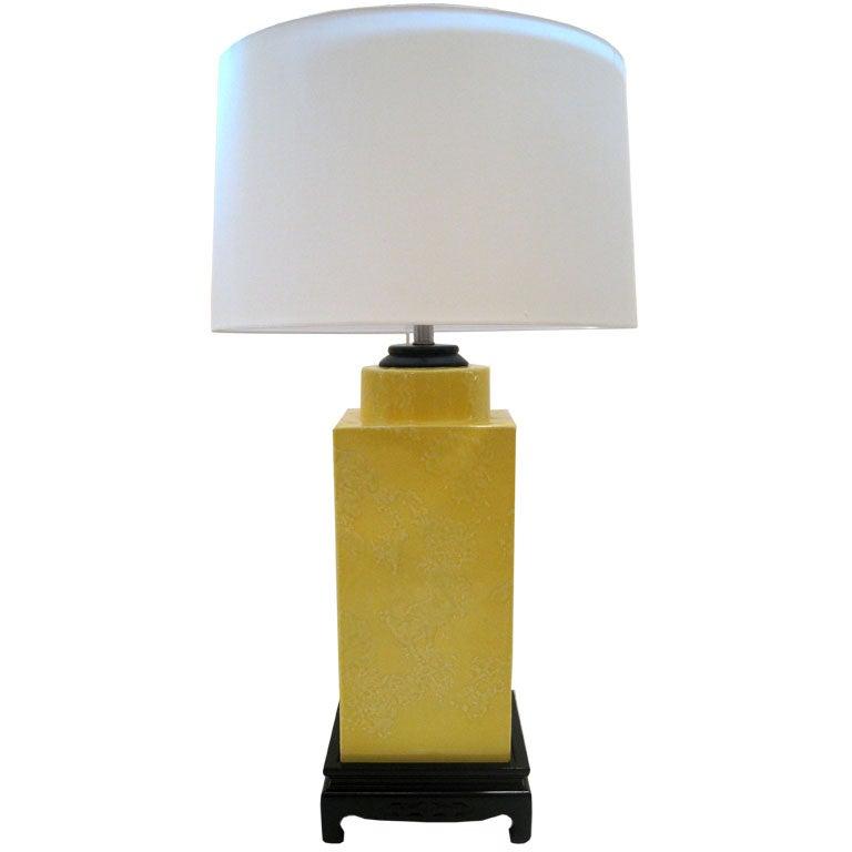 Chinese Style Yellow Glazed Ceramic Lamp