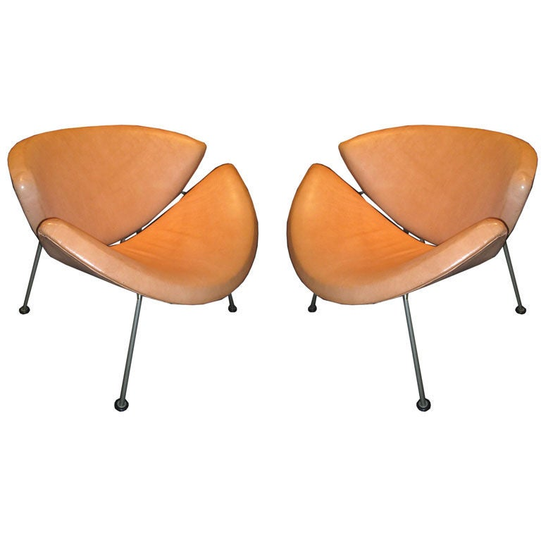 pair of early pierre paulin  quot orange slice quot  chairs at 1stdibs