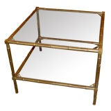 French 1960s Faux Bamboo Coffee Side Table