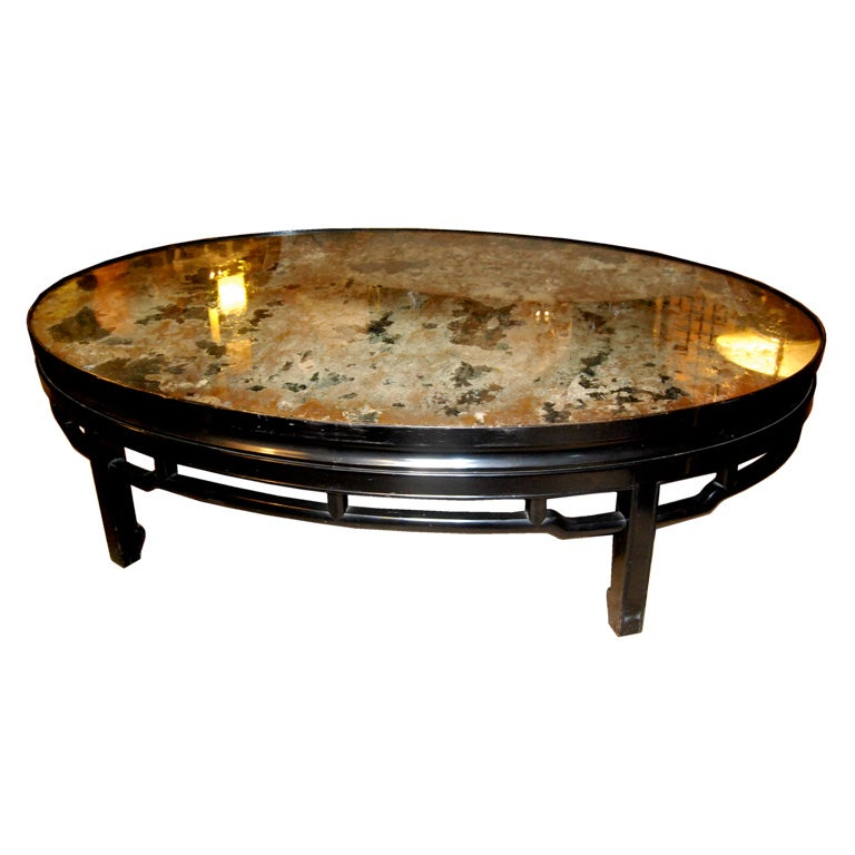 Oval Coffee Table With Mirror Top At 1stdibs