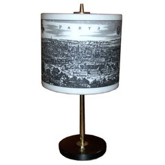 French Table Lamp with Paris Scene Painted on Glass Shade