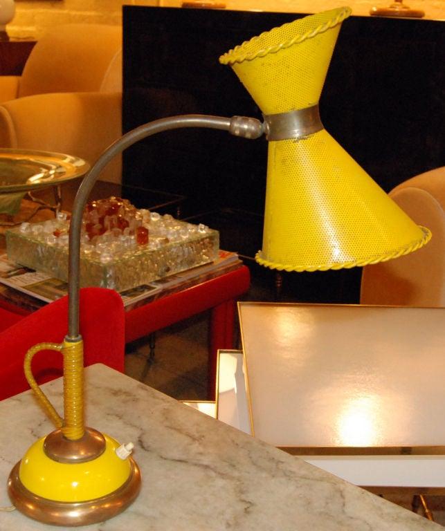 French, 1950s yellow painted metal shade desk lamp. Original finish.