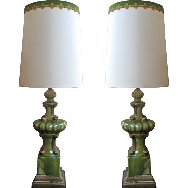 Pair Of Tall Ceramic Table Lamps For Sale At 1stdibs