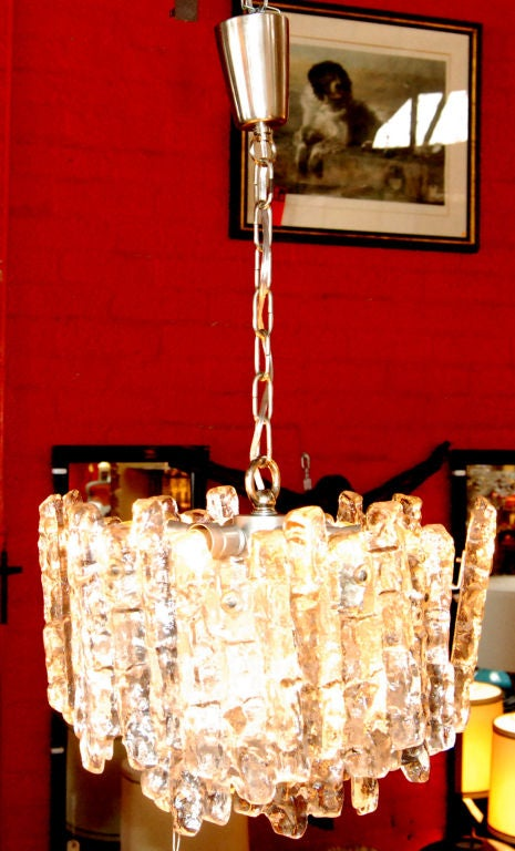 1960s handblown glass chandelier by Kalmar seven lights.