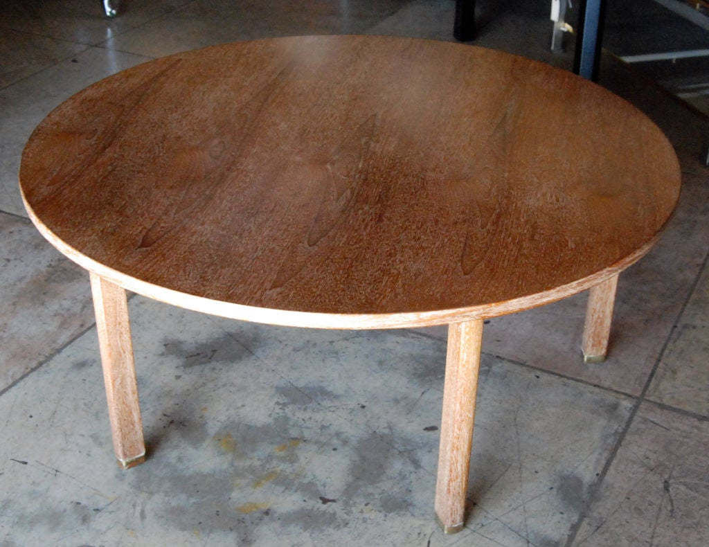 1960s round oak ceruse finish coffee table by Edward Wormley for Dunbar.