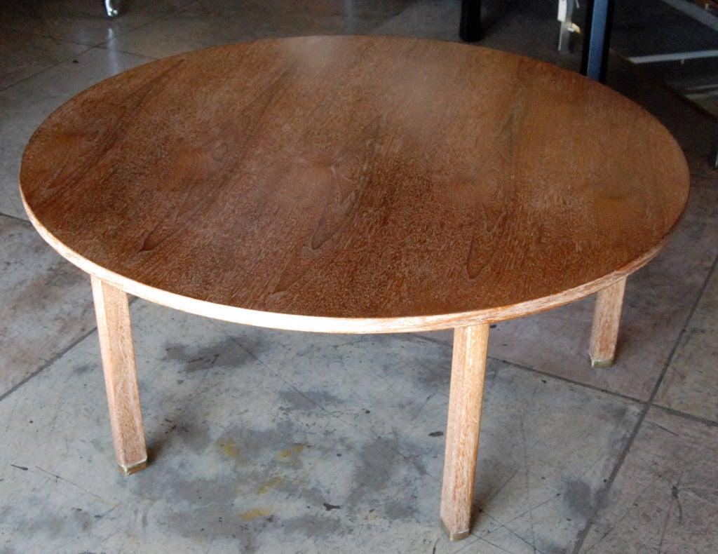 1960s round oak ceruse finish coffee table by Edward Wormley for Dunbar.