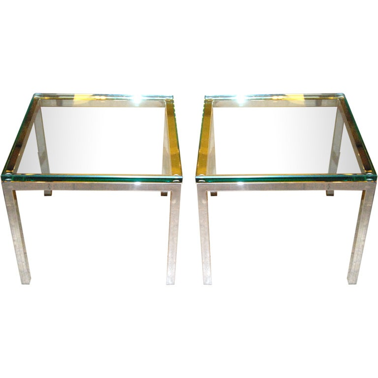 Pair of 1960s Side Tables with Glass Top