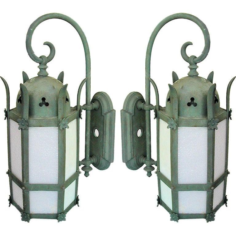 Pair Of Bronze Lanterns At 1stdibs