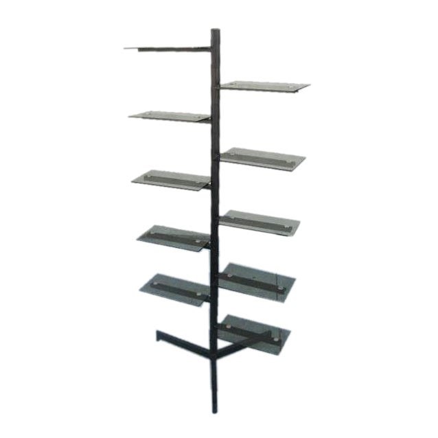smoked glass swivel free standing shelving unit at 1stdibs. Black Bedroom Furniture Sets. Home Design Ideas