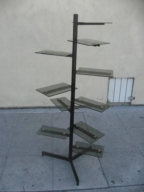 Smoked glass swivel free standing shelving unit at 1stdibs - Glass free standing shelves ...