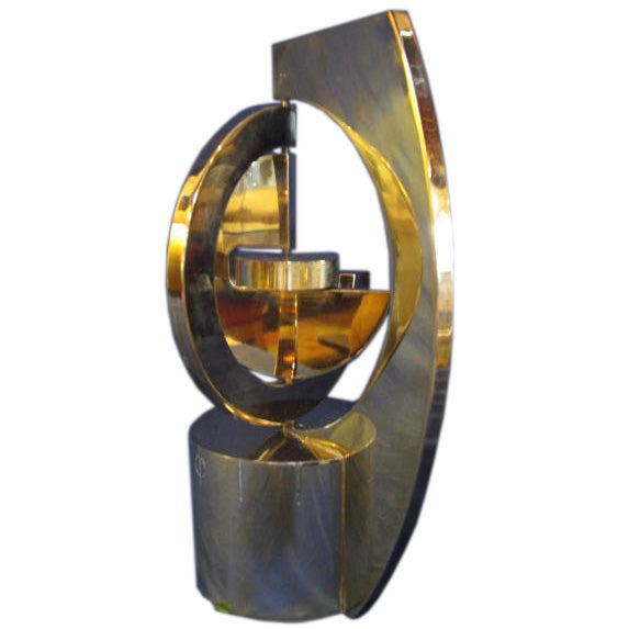 Gilded Brass Unusual Clock By Dunhill For Orbital Concepts