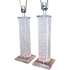 Lucite Lamps by Astrolite, Pair