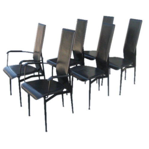 Set of 6 sculptural black leather 1970s dining room chairs for Black leather dining room chairs