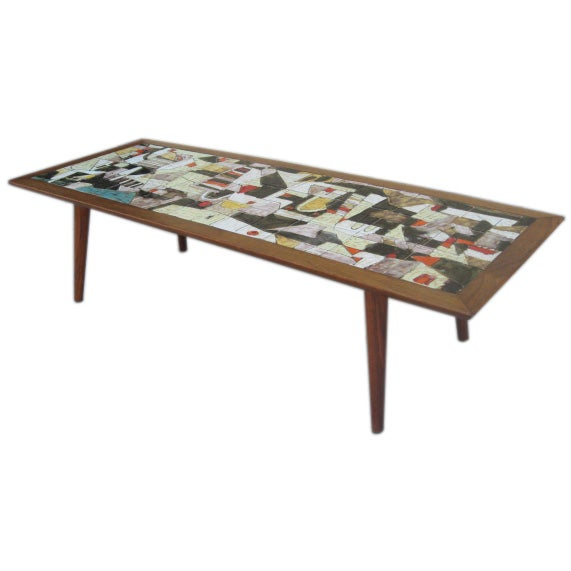 Whimsical Coffee Table With Very Colorful Tiles At 1stdibs