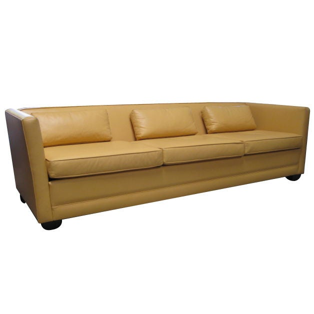 Yellow Leather Sectional Sofa: Chic Sleek Lines Yellow Leather 1960s Sofa At 1stdibs
