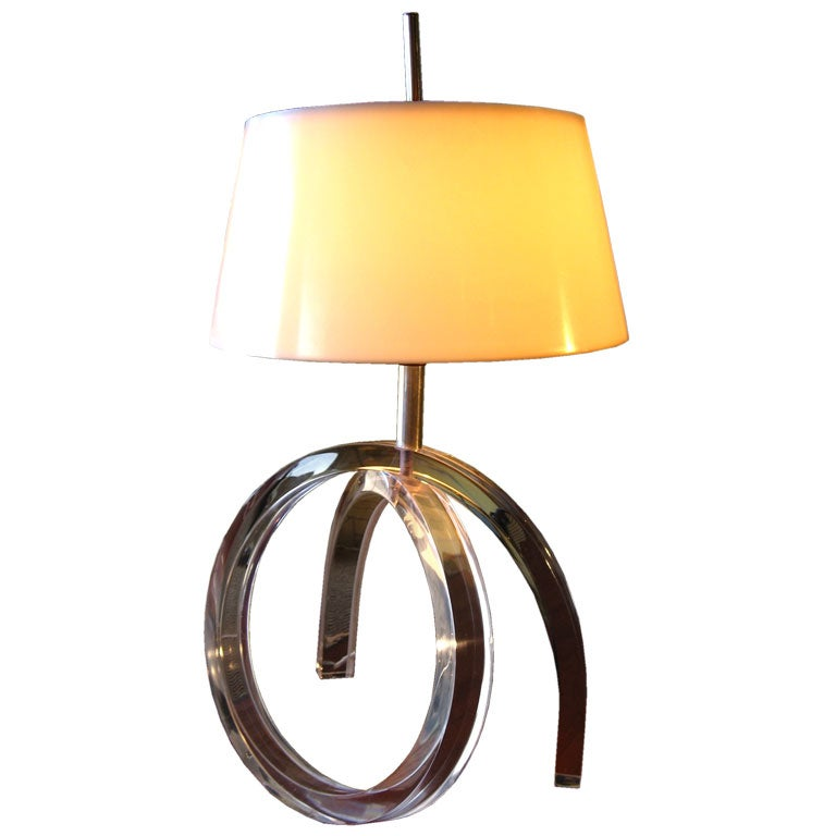 Lucite Table Lamp With Plastic Shade At 1stdibs