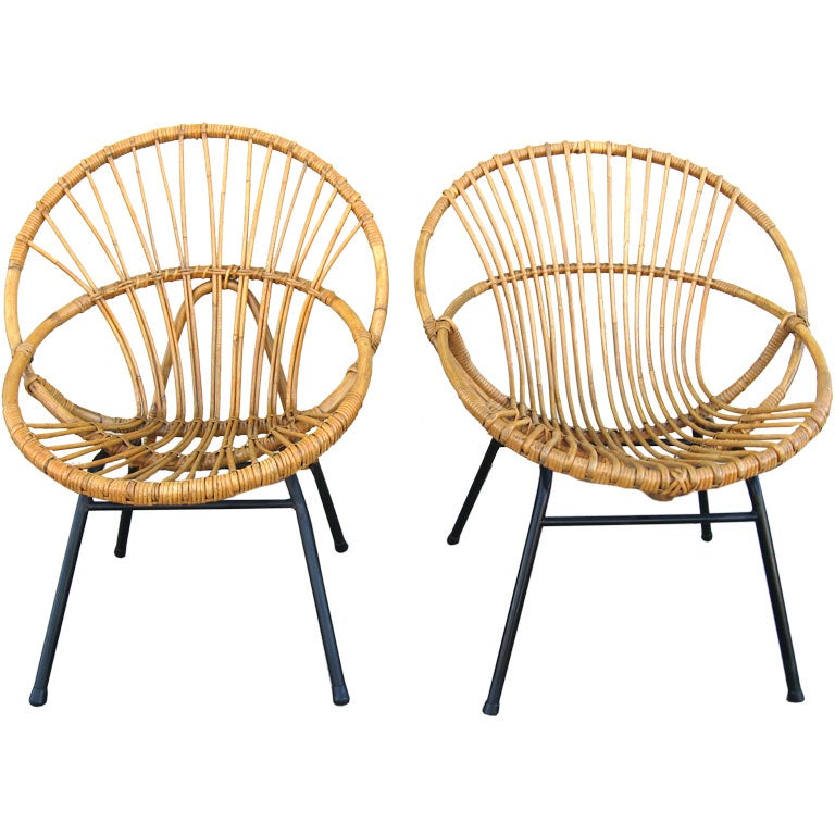 Set of 2 French 50s Bamboo Chairs