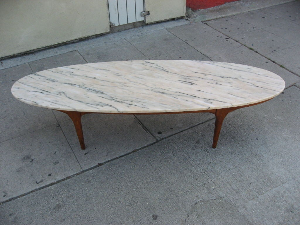 Ovale marble top coffee table at 1stdibs for Stone topped coffee tables
