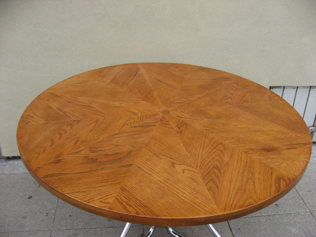 Chrome Base Table With Star Pattern Motif Veneer