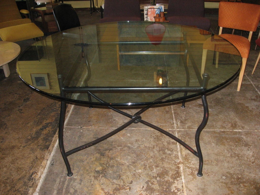 Unique gun finish steel base dining table with glass top for Unusual dining tables for sale