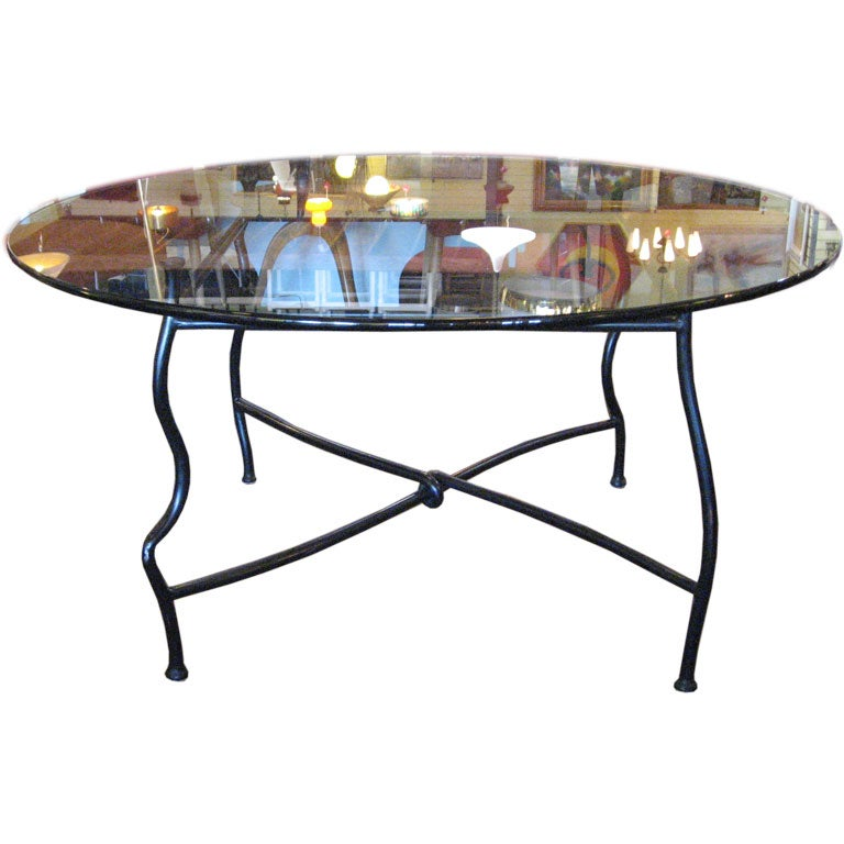 Unique Table Base: Unique Gun Finish Steel Base Dining Table With Glass Top