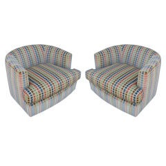 Pair of  Barrel  Back  Swivel Chairs by Milo Baughman