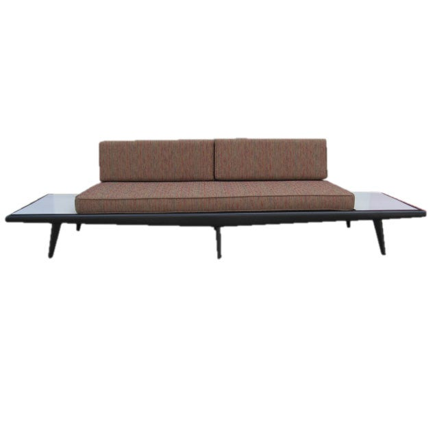 Platform Sofa : Adrian Pearsal Platform Sofa with White Formica Side Tables at 1stdibs
