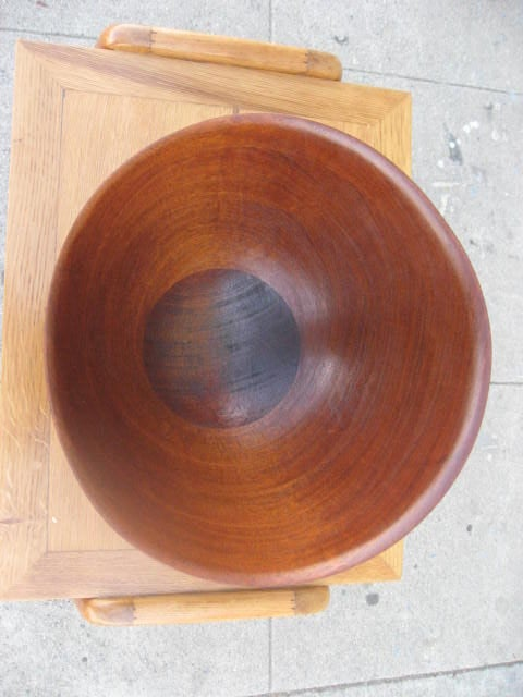 Organic Shape Wooden Bowl With Silver Base By Richard
