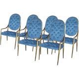 SIX BRASS FRAMED ITALIAN DINING CHAIRS