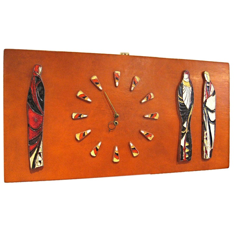Harris Strong Leather Clad Clock with glazed Earthenware Figures