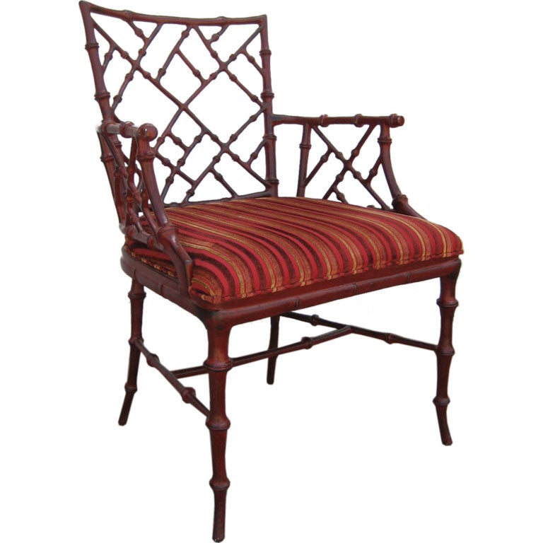 Cast metal faux Bamboo armchair by Phyllis Morris