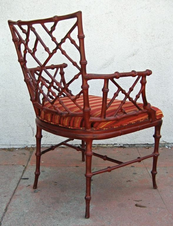 American Cast metal faux Bamboo armchair by Phyllis Morris For Sale