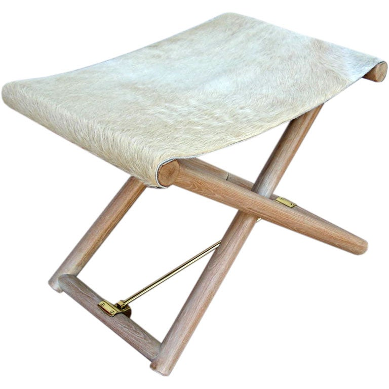 Folding Campaign Stool With Cowhide Seat 4 Available At