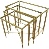 Maison Bagues Nesting table with Mirror bordered glass tops