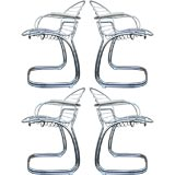 Set of four Italian Chrome chairs by Gastone Rinaldi
