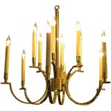 NeoClassical Moderne Brass Chandelier