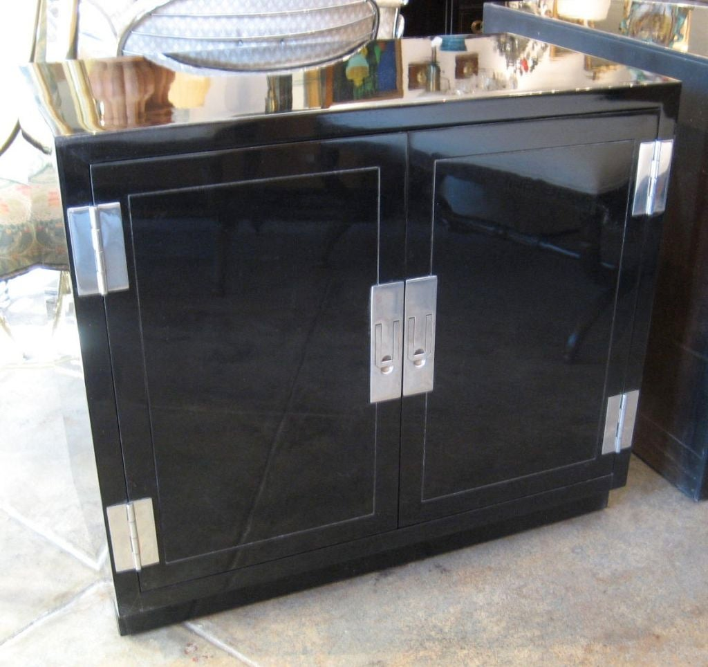 Pair Of Black Lacquer Modern Campaign Style Nightstands At