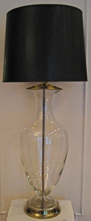 Statuesque pair of clear Crystal Urn lamps by Paul Hanson, NY 2
