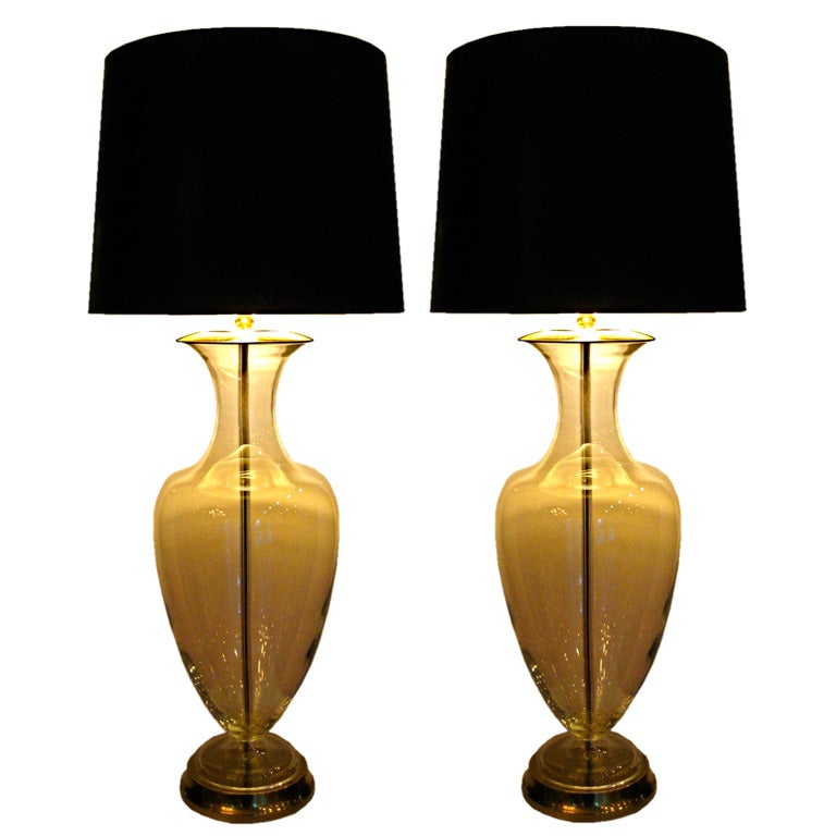 Statuesque pair of clear Crystal Urn lamps by Paul Hanson, NY 1