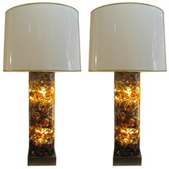 Colossal pair of Interior Lit Cracked Resin lamps